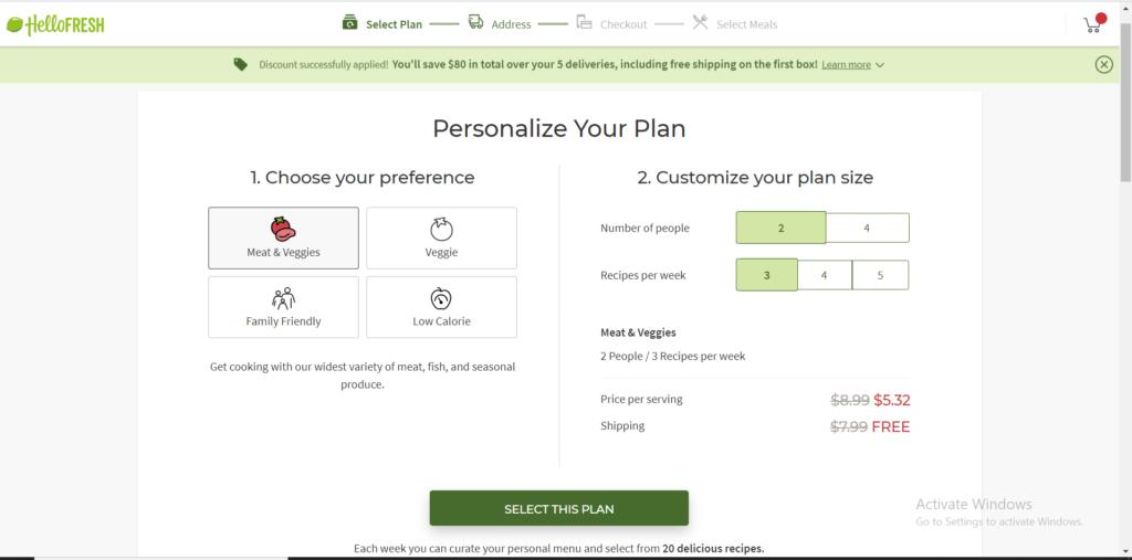 HelloFresh menu customization options online