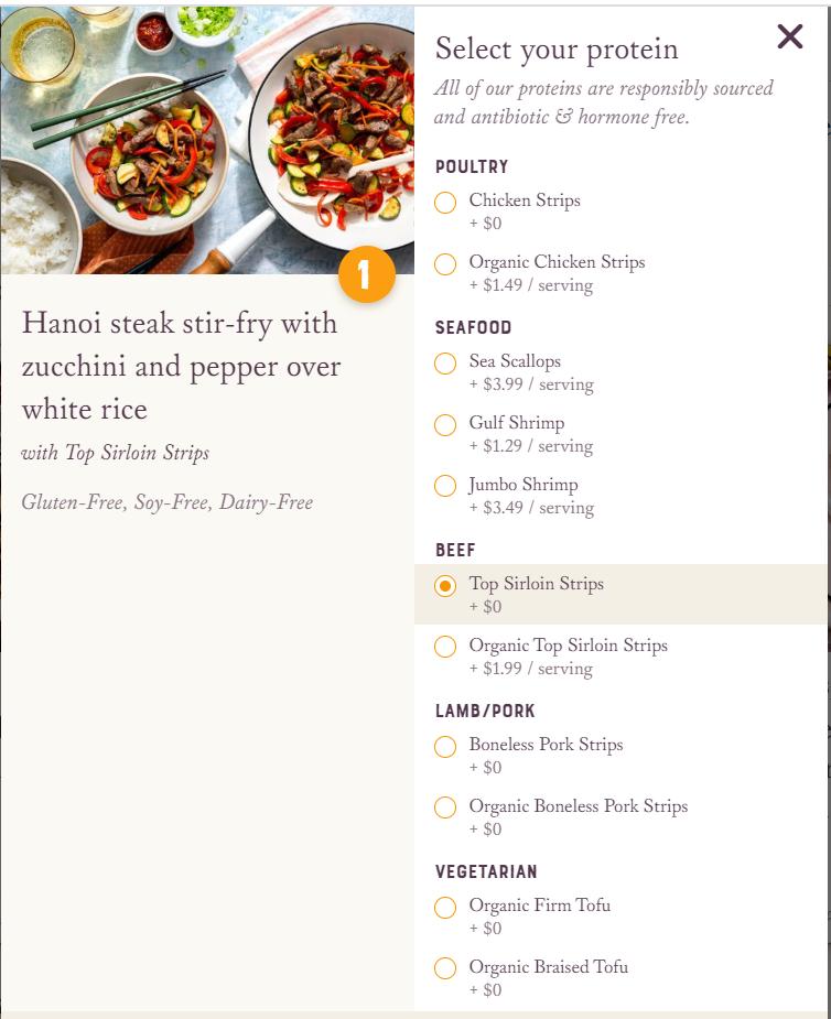 Screenshot of Sun Basket menu option selection screen