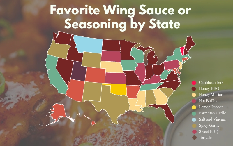 U.S. map of each state's favorite wing sauce or seasoning