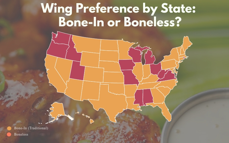 U.S. map of each state's wing type preference (bone-in or boneless)