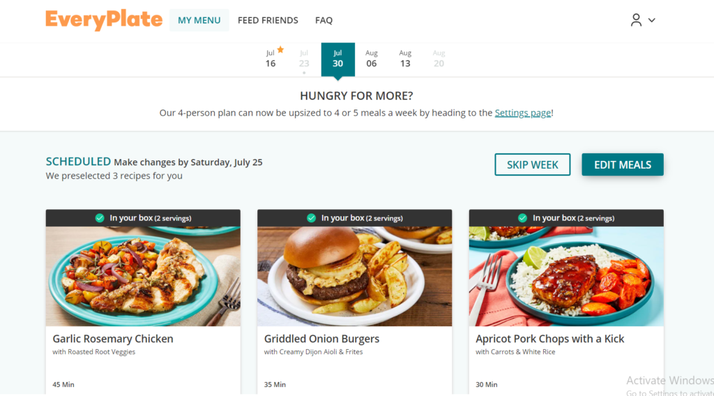 A screenshot of the EveryPlate ordering process