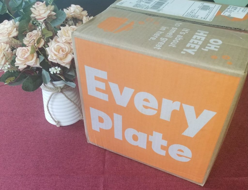 A photo of an EveryPlate delivery in its box