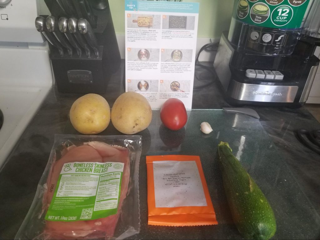 Photo of all the ingredients in our EveryPlate box