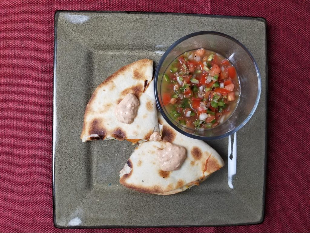 Sweet Potato & Pepper Quesadillas with Fresh Salsa & Chipotle Sour Cream
