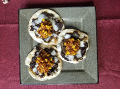 Cheesy Refried Bean Tostadas with Corn & Tomato Salsa - after