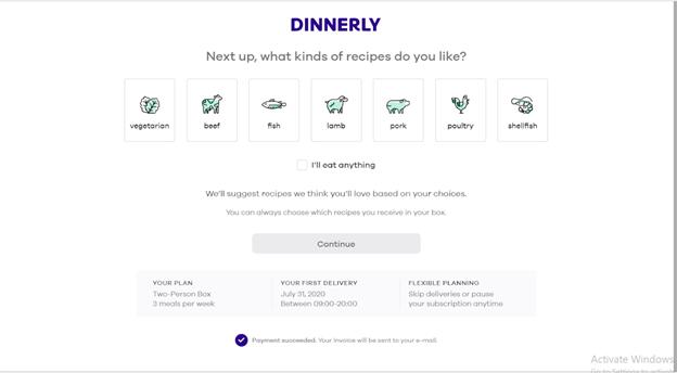 Screenshot of Dinnerly ordering screen