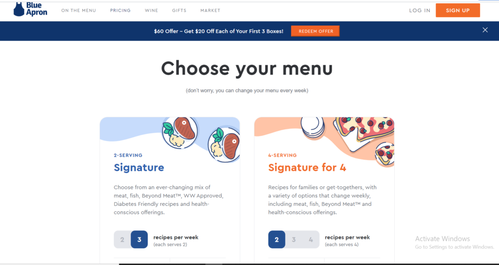 Blue Apron website