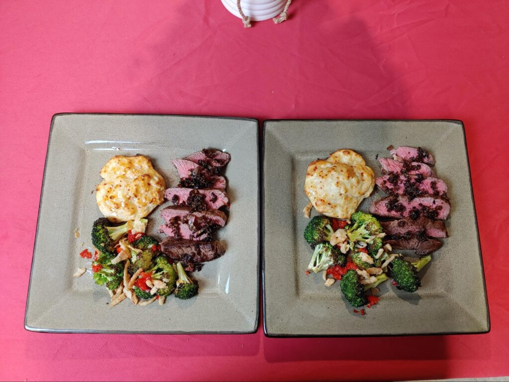 Seared Steaks & Hot Honey Biscuits with Glazed Shallot & Roasted Broccoli