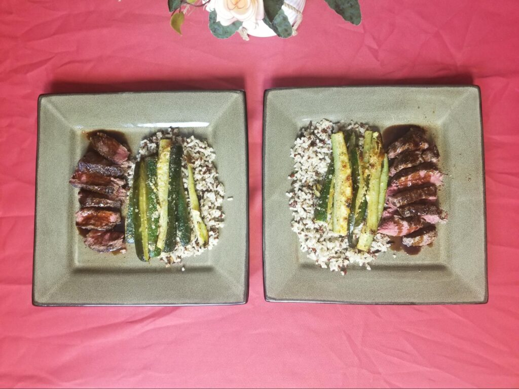 Balsamic Glazed Sirloin Steaks with Oven Roasted Parmesan Zucchini Fries