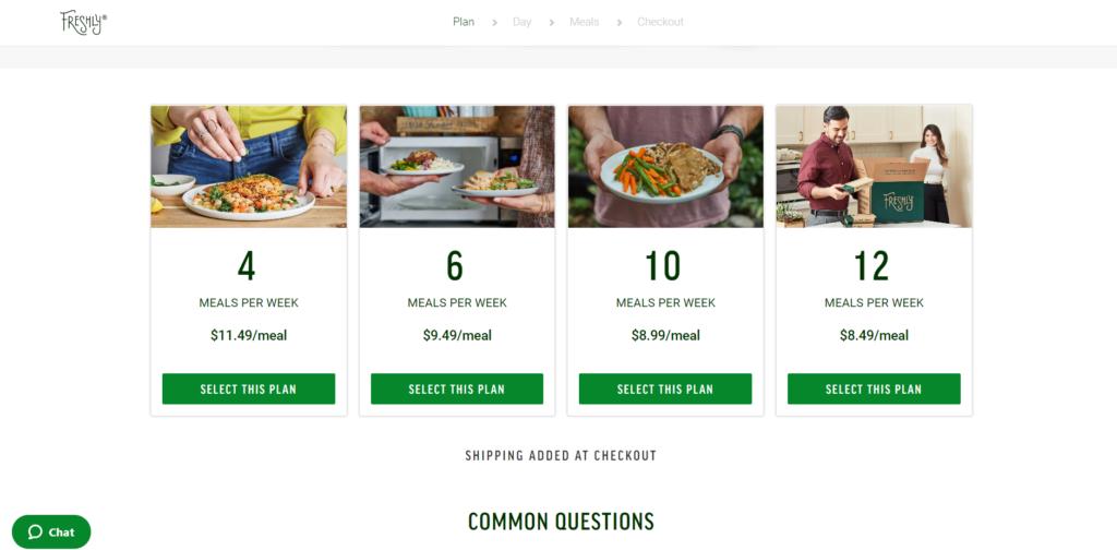 A menu ordering screen for Freshly